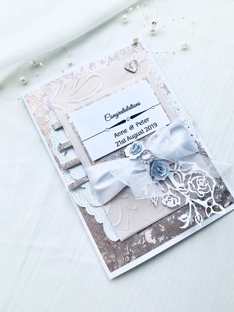 Luxury Elegant Handmade Wedding Card Rose Gold