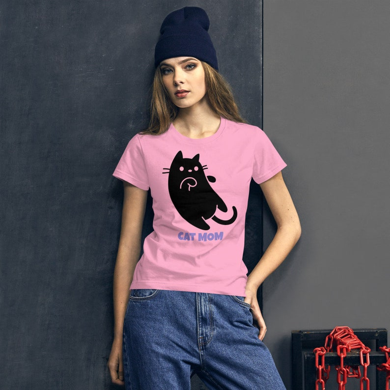 Cat Mom Shirt for Women  Funny Cat lover Gift TShirt  Crazy image 0