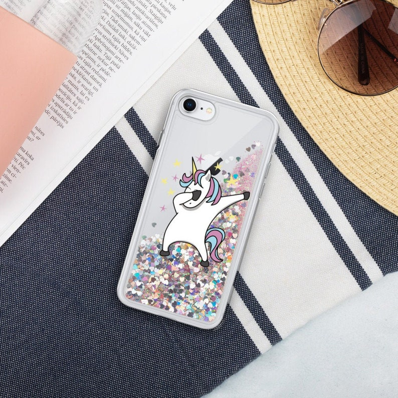 Unicorn Dabbing Glitter iPhone Case for iPhone 7 iPhone 8 Pink
