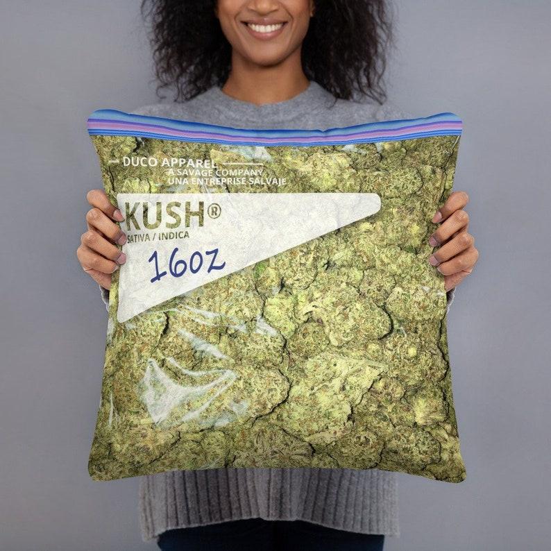 Weed Pillow Bag Marijuana OG Kush Nug Throw Pillow image 0