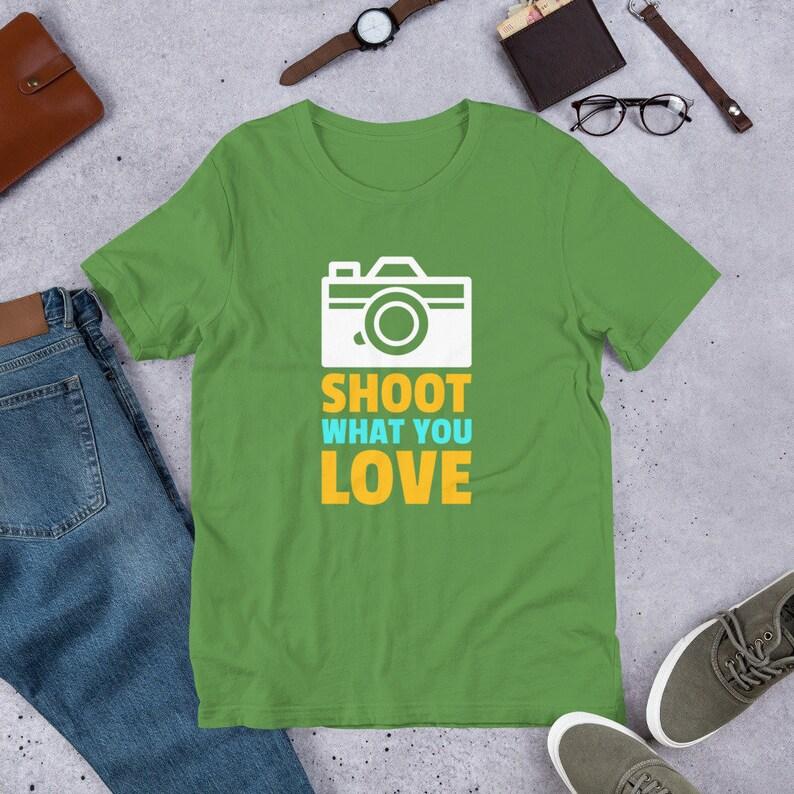 Camera Shirt  Shoot What you Love  Camera Art Shirt  Camera Leaf