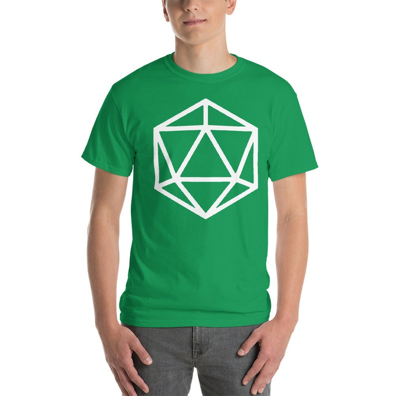 D20 Dice / D20 Die Shirt TShirt DnD Dungeons and Dragons Irish Green