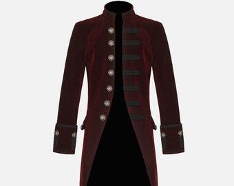 35456d9b013330 Red Velvet Goth Steampunk Victorian Frock Coat Jacket