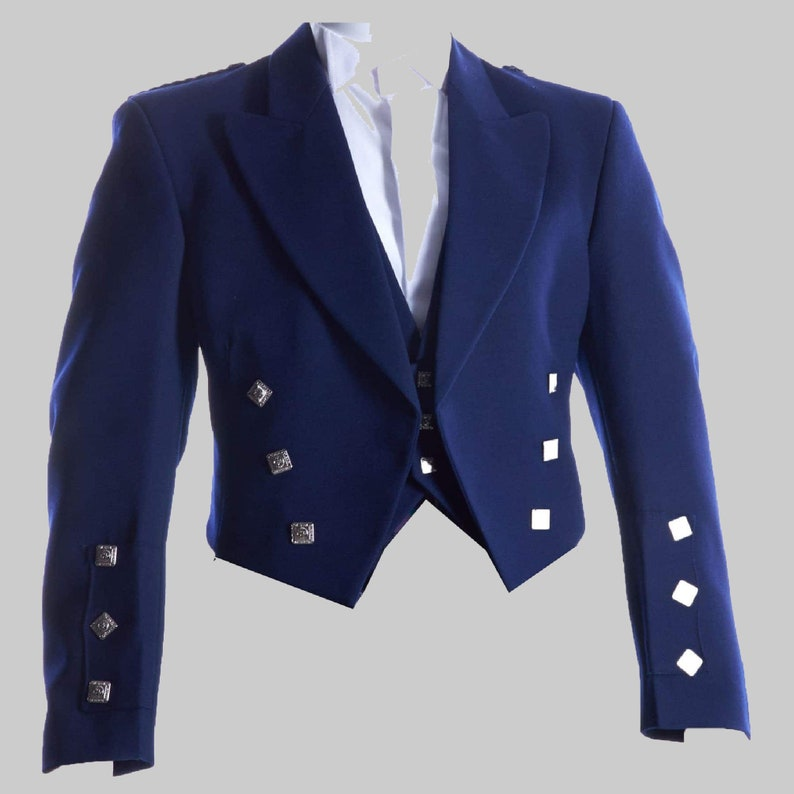 Blue charlie jacket,Navy Blue Prince Charlie Jacket with 3 Button Waist Coat