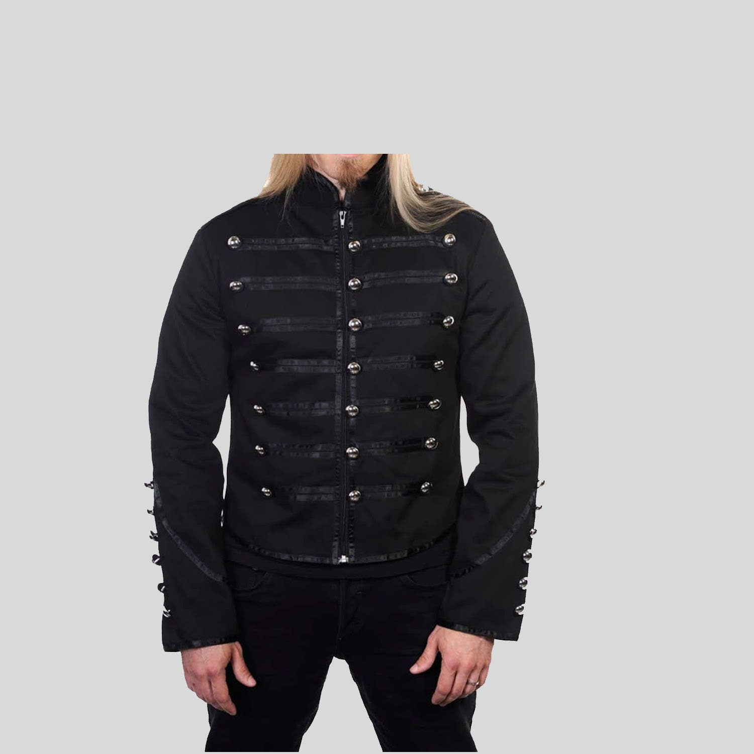 Mens Unique Gothic Steampunk Silver Black Parade Military Marching Band Jacket