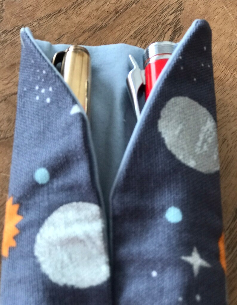 in space-themed print fits two fountain pens Pen CaseSleevePouchKimono with blue contrast lining /& cord closure.