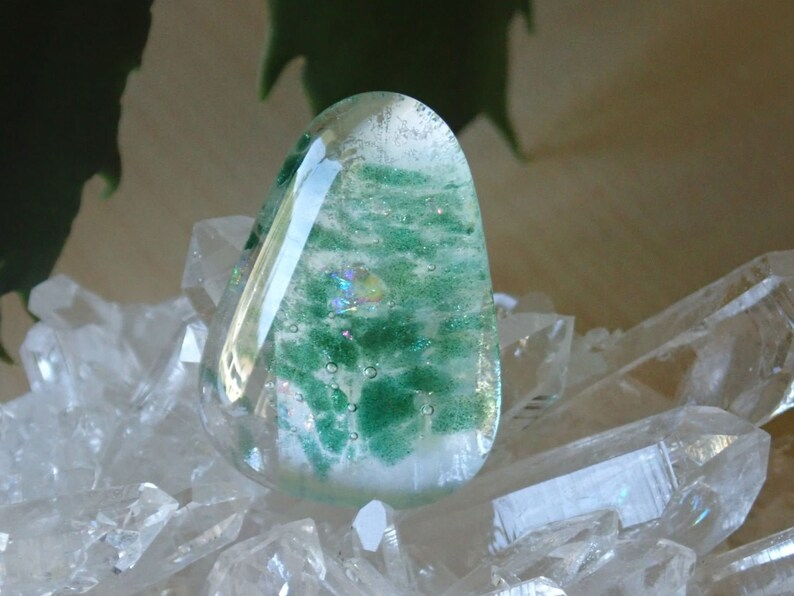 Dichroic Glass Cabochon with embedded Moldavite chips 29 x 21 mm 122L0029