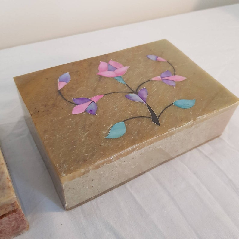Gift For Her Handmade Inlay Oriental PAIR Floral Carved Pretty Soapstone Trinket Jewellery Box Indian -Boxes Incense Box Asian