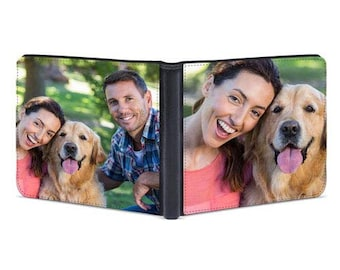 Personalized Wallet with Photo Slim Wallet for Men Customized Double Sided Wallet Anniversary Gift Men's Bifold Wallet Father's Day Gift
