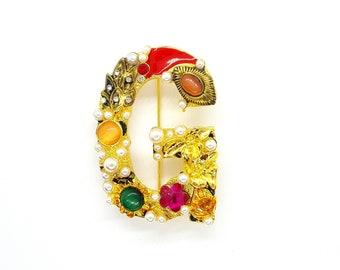 11826b6ee Statement Brooch Pin G Letter Brooch Pin Pearl Brooch Vintage Inspired Brooch  Pin Rhinestone Brooch French Jewelry