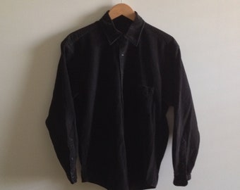 395d7bc1d71c Vintage Shirt, Corduroy Shirt, Button Up Shirt, Distressed, Dark Green,  Collared, Long Sleeve, Minimalist, Men's Extra Large XL