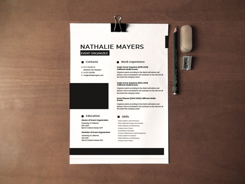 Event Organizer Resume Template for Word + Cover Letter + References Pages,  Modern Resume, Resume Design, Resume Template Instant Download