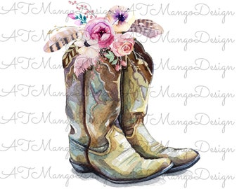 e81e368bb6188d Sublimation Design Watercolor Cowgirl Boots With Flowers Boho PNG Instant  Digital Download Printable T Shirt Clipart Floral Waterslide Decal