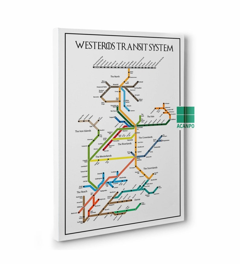 G Subway Map.Framed Canvas Game Of Thrones Subway Poster Westeros Transit System Poster Game Of Thrones Map G