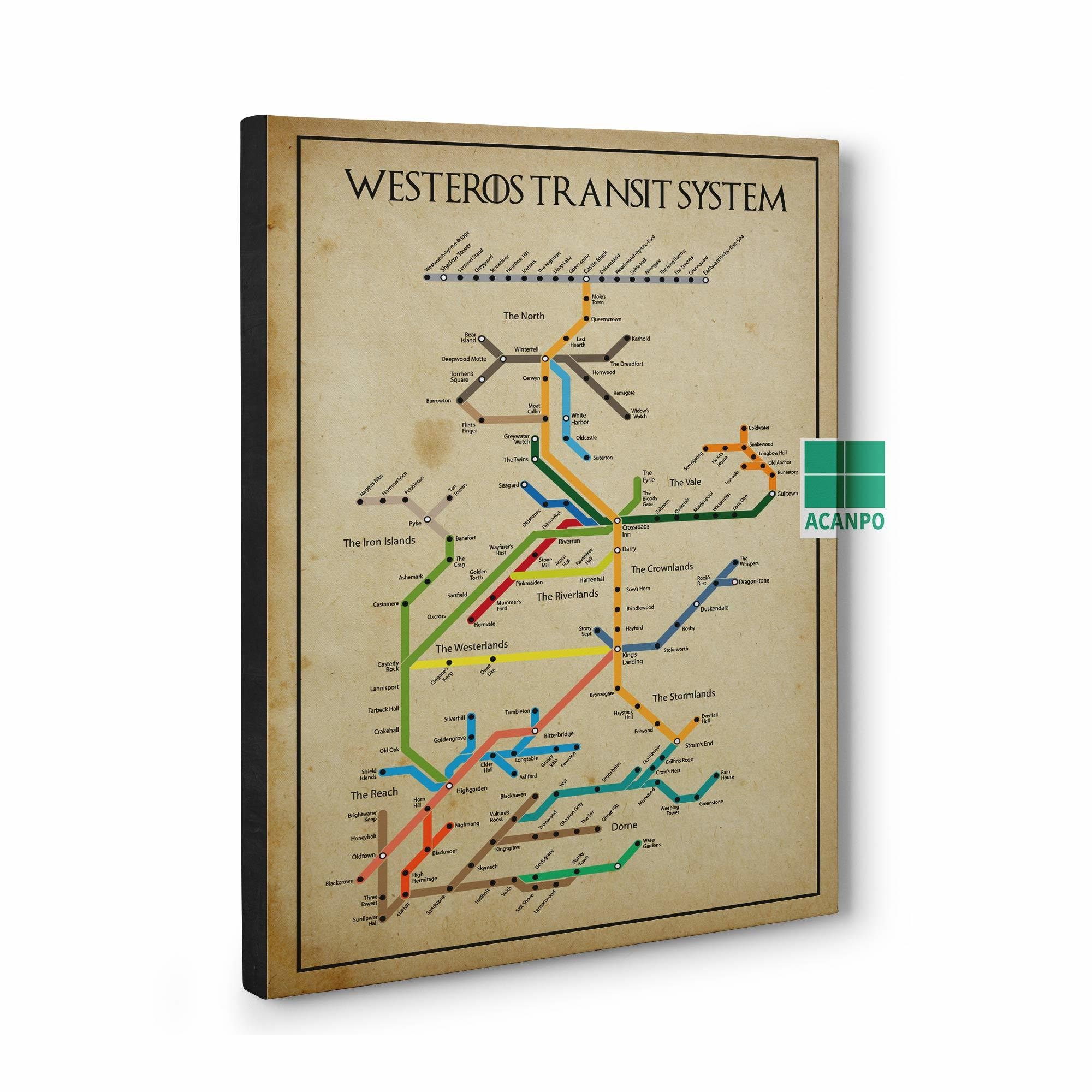 Game Of Thrones Subway Map.Framed Canvas Game Of Thrones Subway Poster Westeros Transit System Poster Game Of Thrones Map G