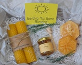 Honey Bee Gift Box, Natural Loofah Scented with Honey Oil, Spa Gift Set with Two Natural Rolled Candles and a jar of Honey, Christmas box