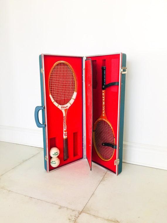 70s Tennis Racket Case and Ball Carrier / Tennis R