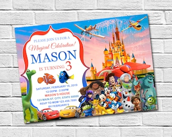Disney Boy Invitation Birthday Castle Kingdom