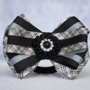 Girl Bow elastic tie Child Atlas bow Kid Hair holder 2 Plaid Checkered black silver bow hair clip Ribbon Bow Female Women/'s Bow decor.