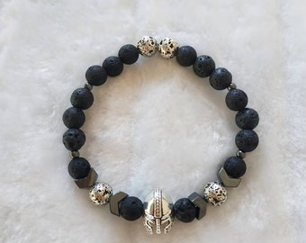28ab7dc6609e SPARTAN Warrior Hematite Lava stone(black silver) beaded man stretch  bracelet Strong Person Hero Survivers Gift Reminder of self believe