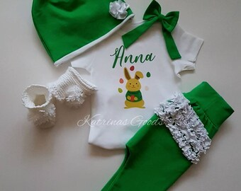 Baby Girl Easter Outfit, Bunny Rabbit Easter outfit, Newborn Infant first easter outfit, baby girl outfit, preemie easter, baby girl clothes