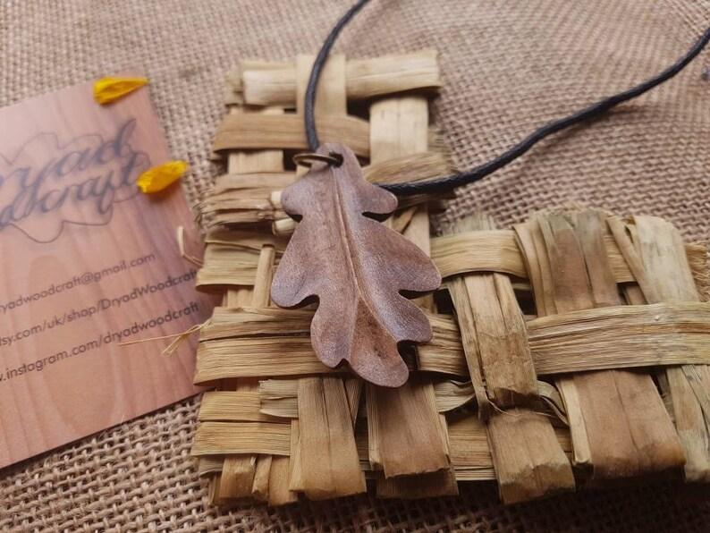 Handmade wooden Oak leaf pendant necklace dryad woodcraft