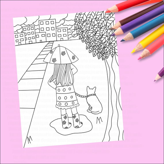- Rainy Day Coloring Page Coloring Page Cute Coloring Page Etsy