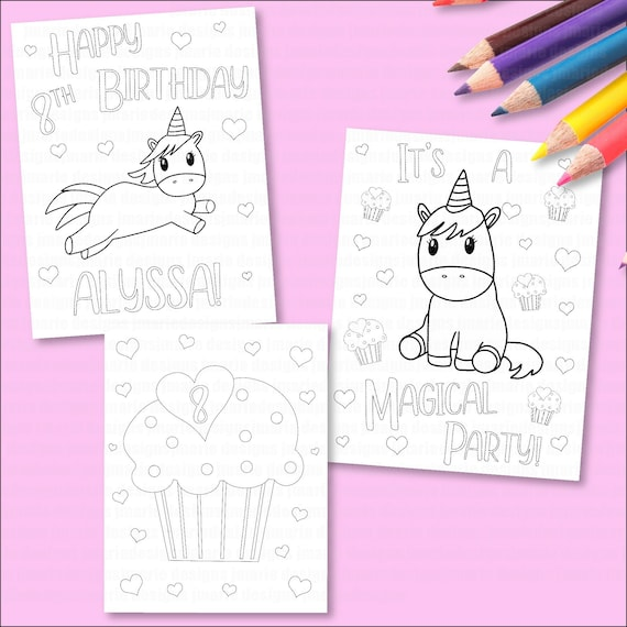 Personalized Coloring pages, girls birthday party, unicorn coloring pages  for birthday party, digital download, coloring pages for kids