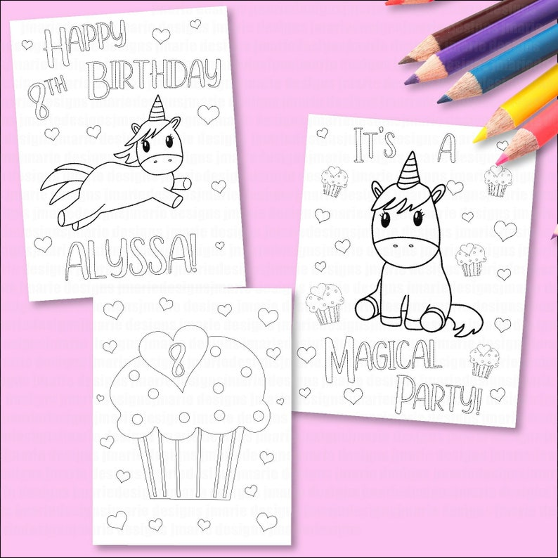 Personalized Coloring pages girls birthday party unicorn   Etsy