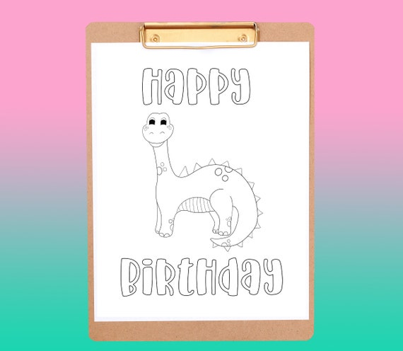 happy birthday dinosaur coloring page printable coloring page birthday party coloring printable kids activity page