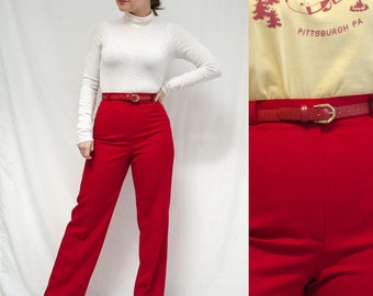 bce2f8ab369 70s 80s Red Pants by Pant-her    Vintage Red Belted Trousers    Fits Women  Small