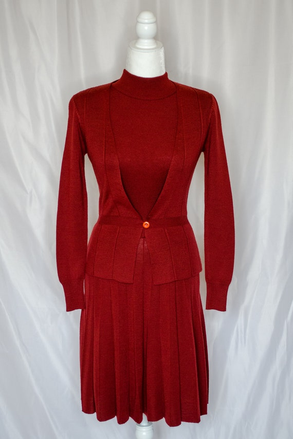 Vintage 70s Rust Red Sweater Dress by Roncelli, V… - image 2