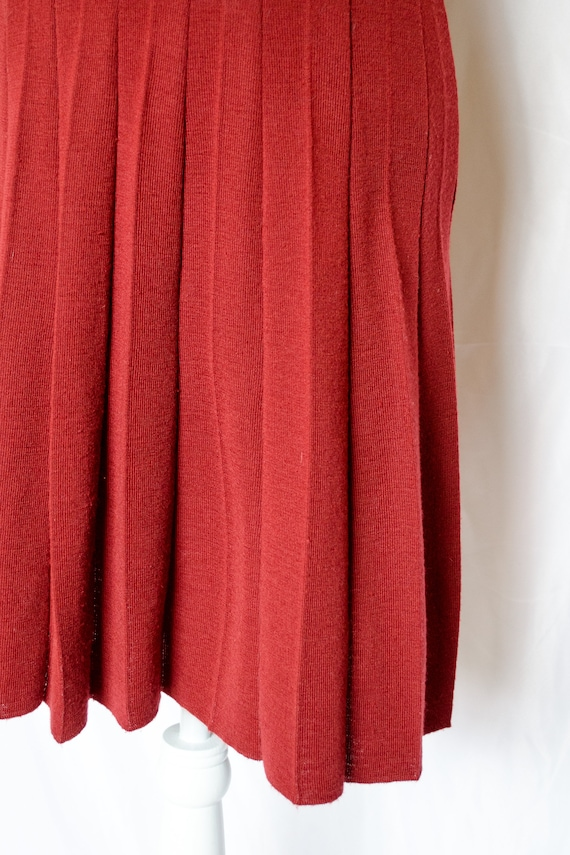 Vintage 70s Rust Red Sweater Dress by Roncelli, V… - image 8