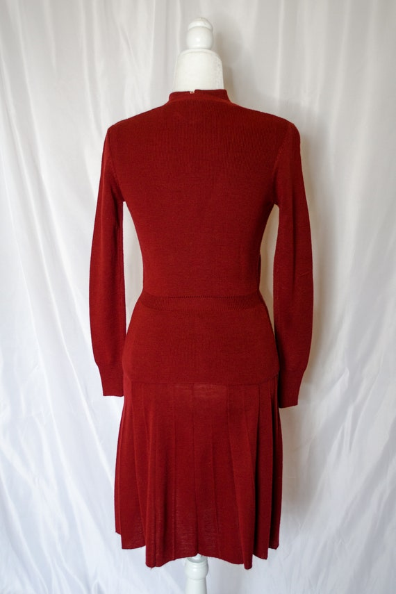 Vintage 70s Rust Red Sweater Dress by Roncelli, V… - image 5