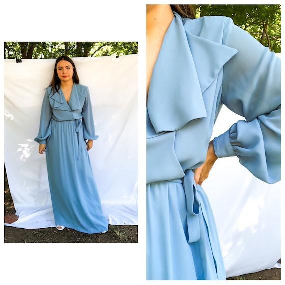 Vintage 70s Blue Dress, Wrap Maxi Evening Dress, S