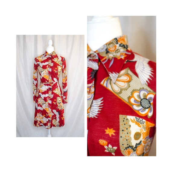 Vintage 70s Red Printed Shirt Dress, Vintage Shirt