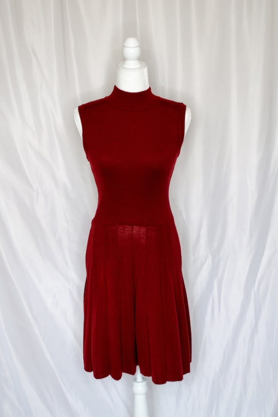 Vintage 70s Rust Red Sweater Dress by Roncelli, V… - image 6