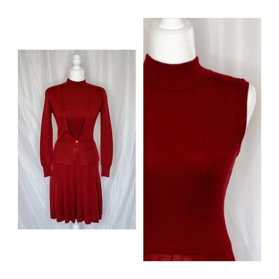 Vintage 70s Rust Red Sweater Dress by Roncelli, Vi