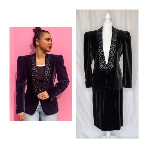 Vintage 80s Black Velvet Blazer & Skirt Set by Esc