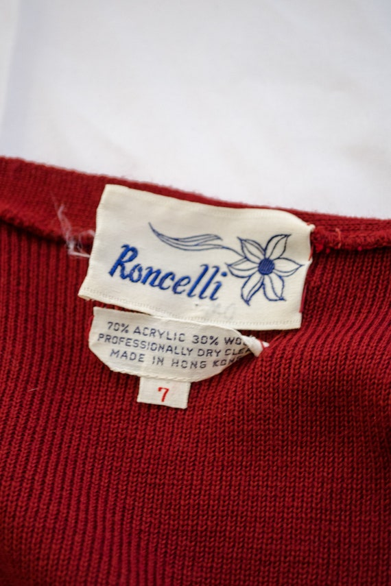 Vintage 70s Rust Red Sweater Dress by Roncelli, V… - image 9