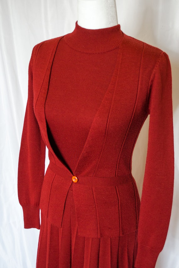 Vintage 70s Rust Red Sweater Dress by Roncelli, V… - image 3