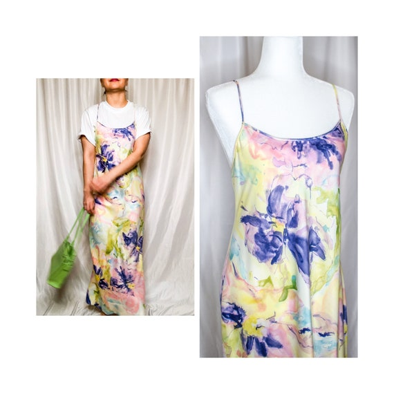 Vintage 80s Watercolor Floral Slip Dress by Natori