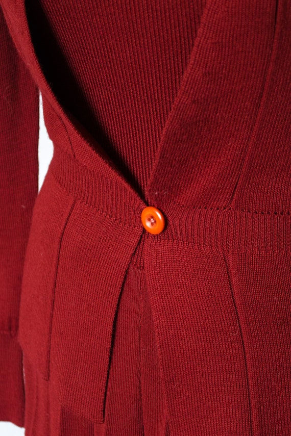 Vintage 70s Rust Red Sweater Dress by Roncelli, V… - image 4