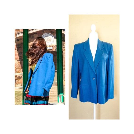 Vintage 70s-80s Teal Blazer by Austin Hill, Vintag