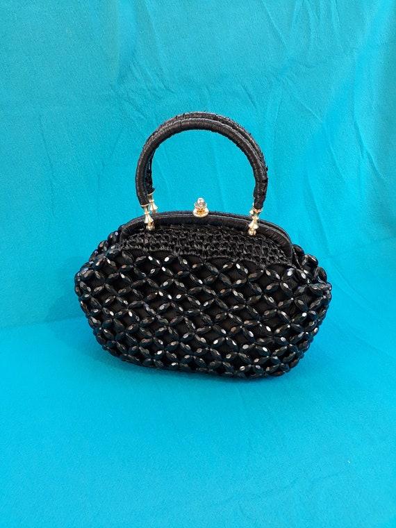 Vintage black beaded raffia bag. 1960s original.