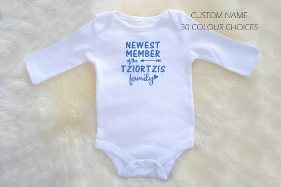 custom made gifts baby shower 100/% cotton Newest Member of the Family birth announcement Personalized Onesie  Bodysuit NB to 24 mths