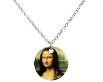 MONA LISA Altered DOMINO Necklace Pendant Goldplated Heart Bail 24 Gold Chain Leonardo da Vinci 1503 Upcycled