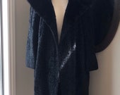 Vintage 1950 39 s 3 4 Length Black Persian Lambskin Duster Coat with Black Mink Fur Collar, By Albert Silver of Beverly Hills, Di Vini . Size M