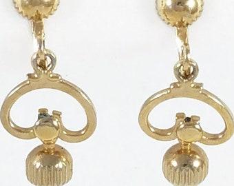 0ec93554b Alice Signed Screw Back Earrings, Vintage Designer Earrings, Gold Tone,  Drop, Vintage Jewelry Gift, Dangle Earrings, Dangle Clip On