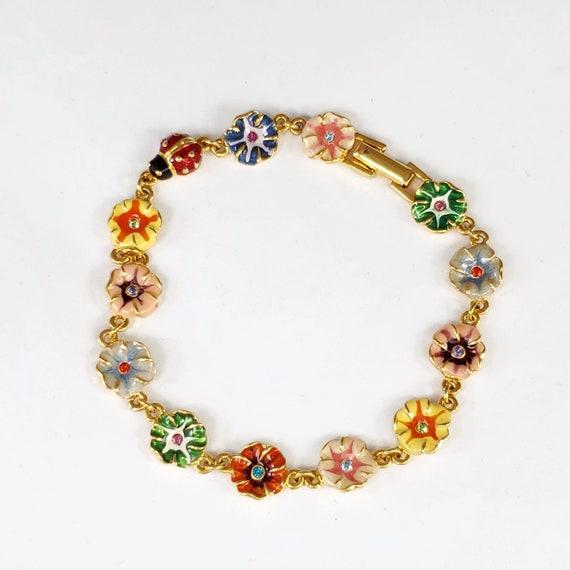 Joan Rivers Bracelet, Enamel and Rhinestone Flower